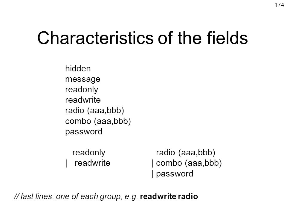 Characteristics of the fields