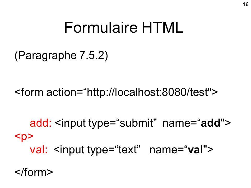 Formulaire HTML (Paragraphe 7.5.2)