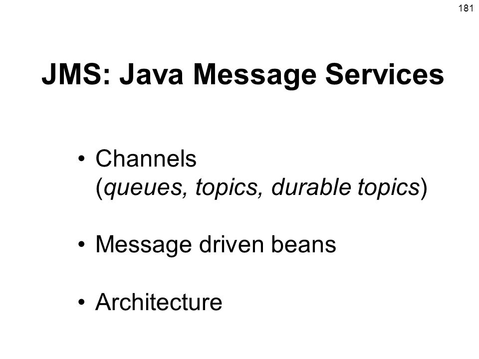 JMS: Java Message Services