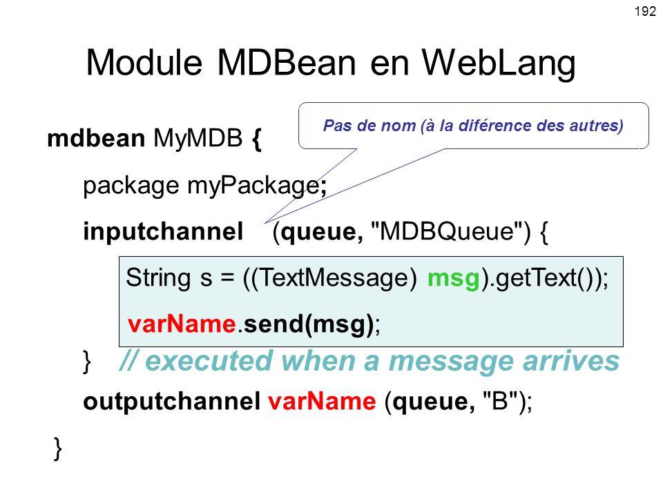 Module MDBean en WebLang