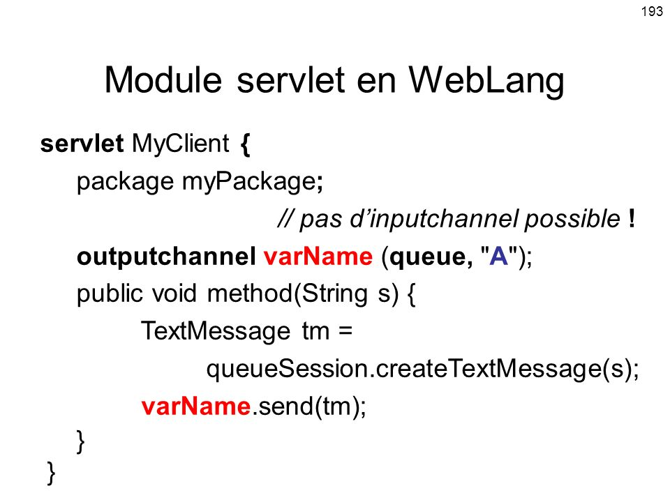 Module servlet en WebLang