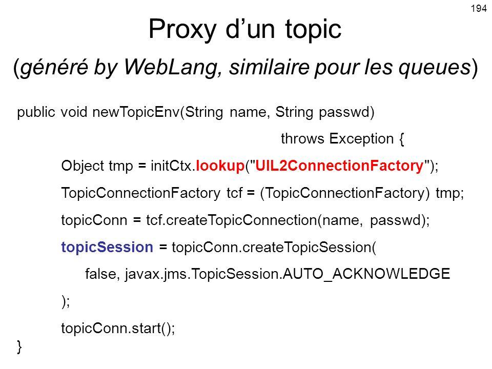 Proxy d'un topic (généré by WebLang, similaire pour les queues)