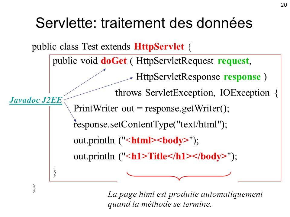 Servlette: traitement des données
