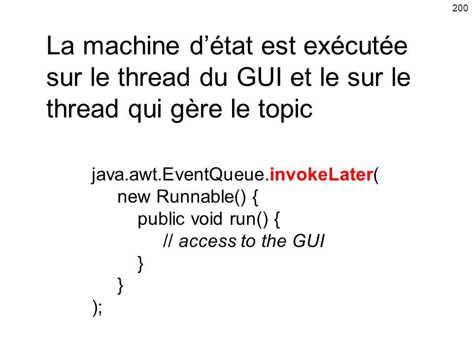 La machine d'état est exécutée sur le thread du GUI et le sur le thread qui gère le topic