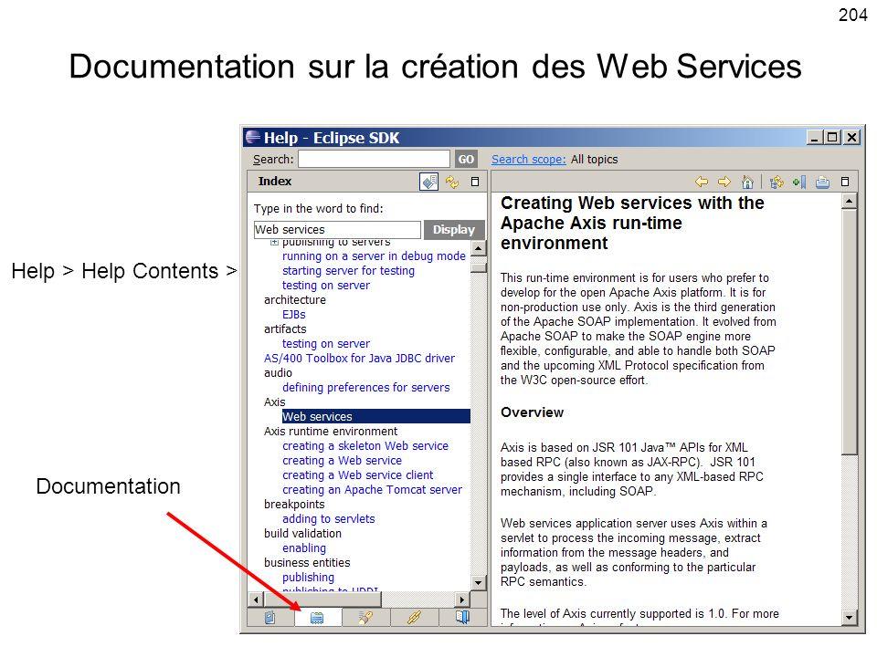 Documentation sur la création des Web Services