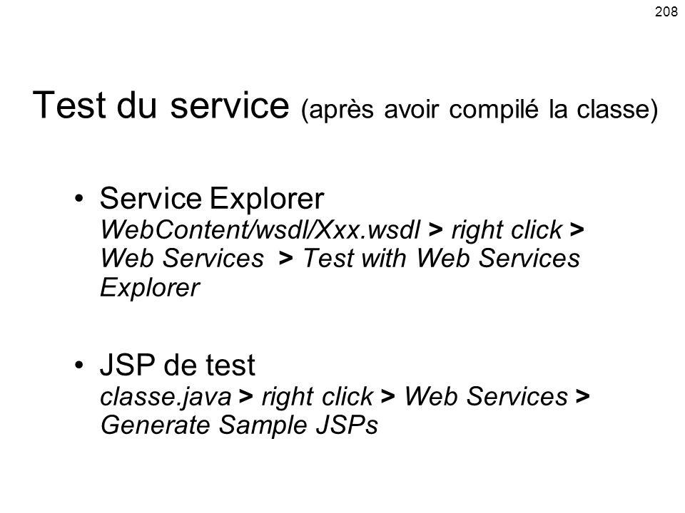 Test du service (après avoir compilé la classe)