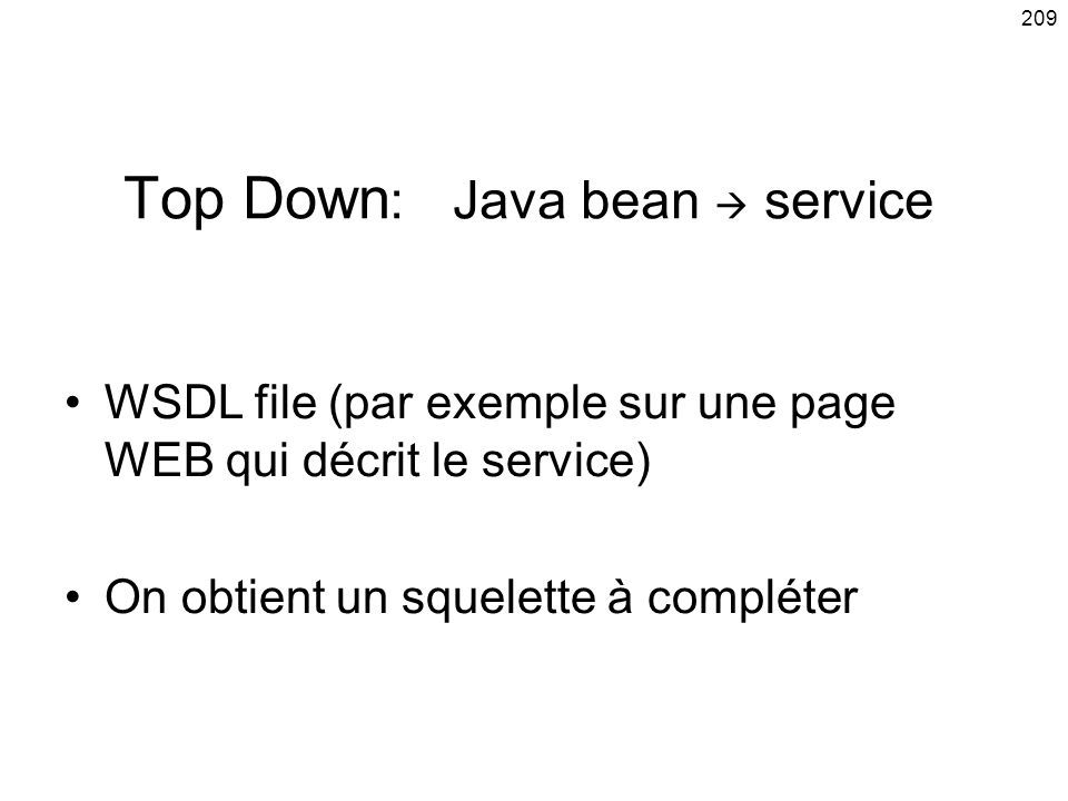 Top Down: Java bean  service