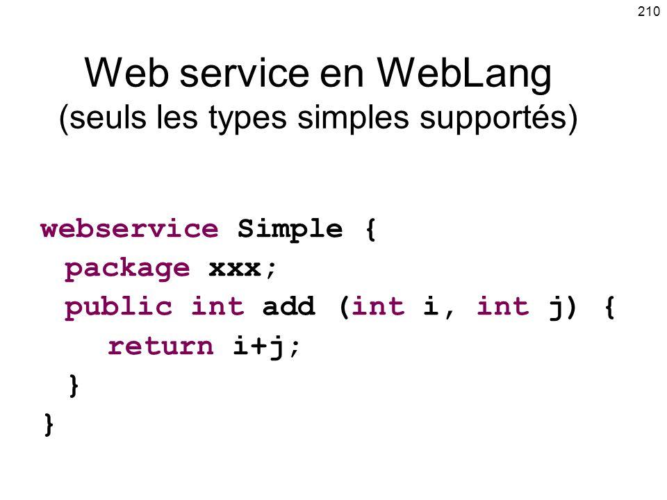 Web service en WebLang (seuls les types simples supportés)