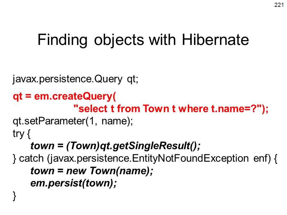 Finding objects with Hibernate