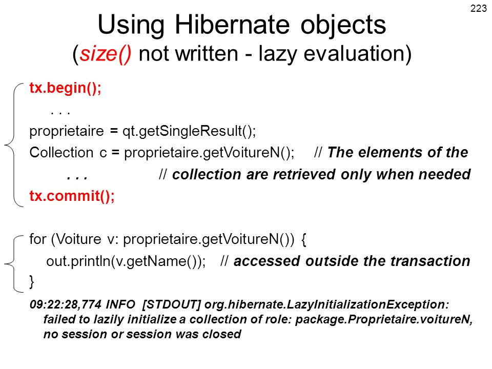 Using Hibernate objects (size() not written - lazy evaluation)