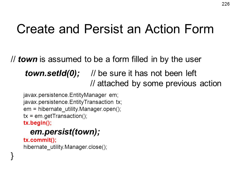 Create and Persist an Action Form
