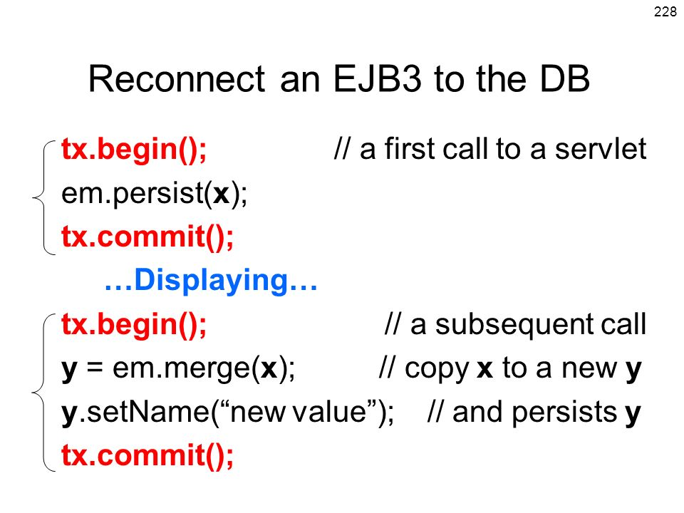 Reconnect an EJB3 to the DB