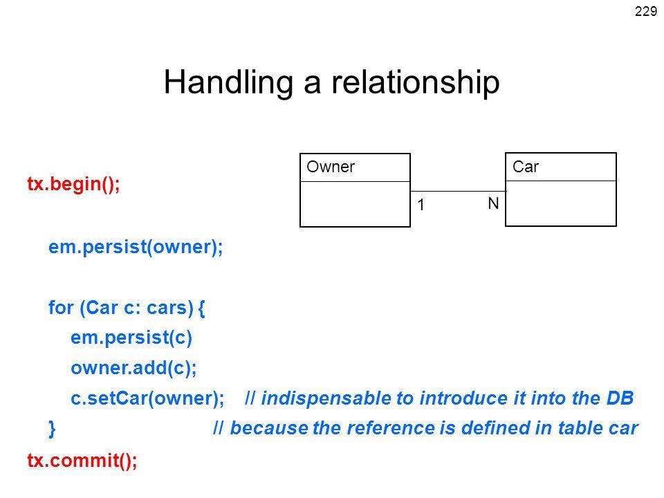 Handling a relationship
