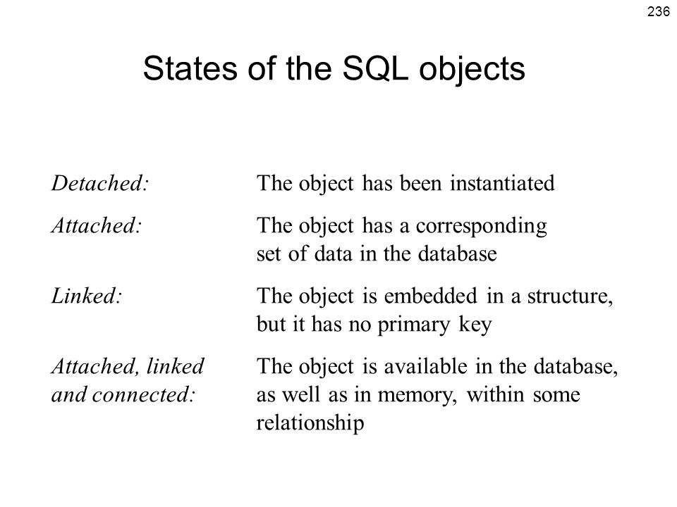 States of the SQL objects