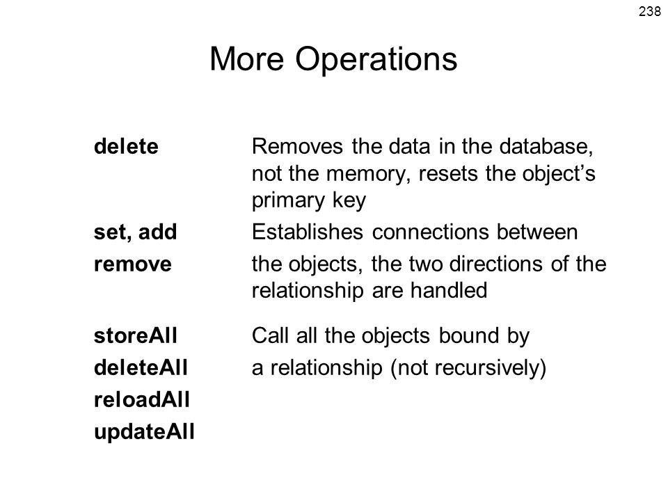 More Operations delete Removes the data in the database, not the memory, resets the object's primary key.