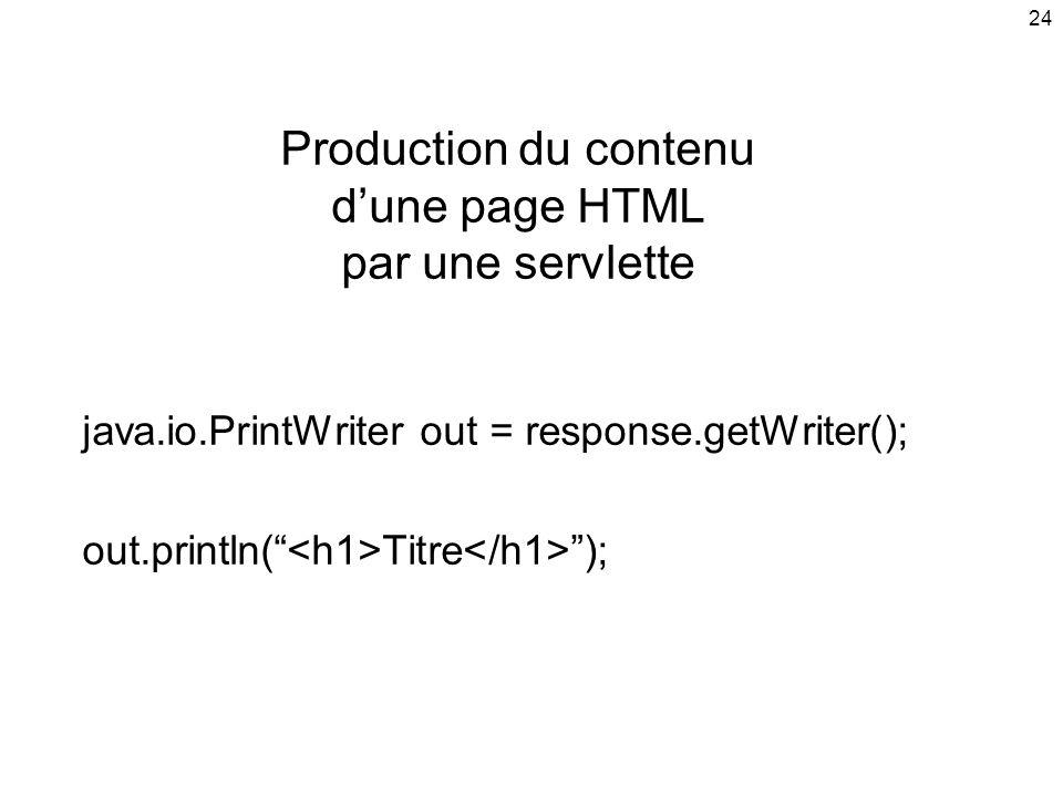 Production du contenu d'une page HTML par une servlette