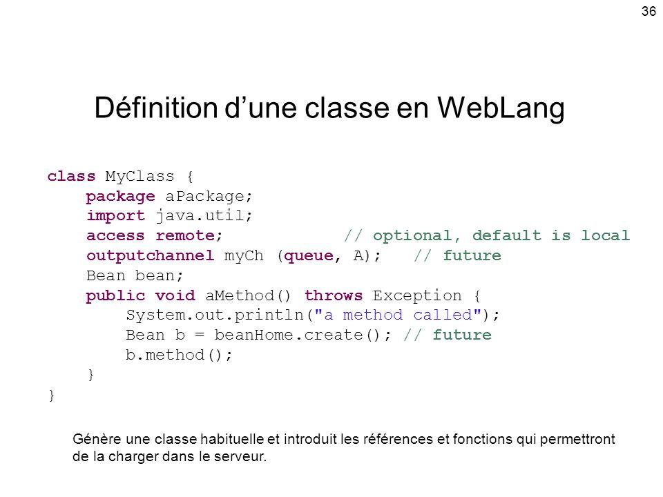 Définition d'une classe en WebLang