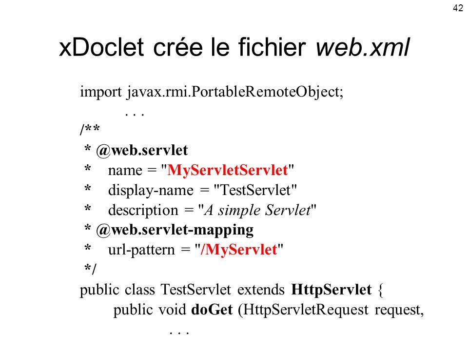 xDoclet crée le fichier web.xml