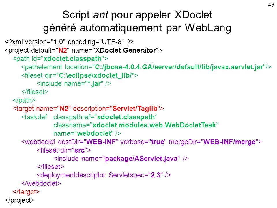 Script ant pour appeler XDoclet généré automatiquement par WebLang