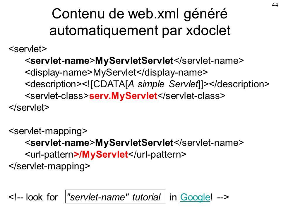 Contenu de web.xml généré automatiquement par xdoclet