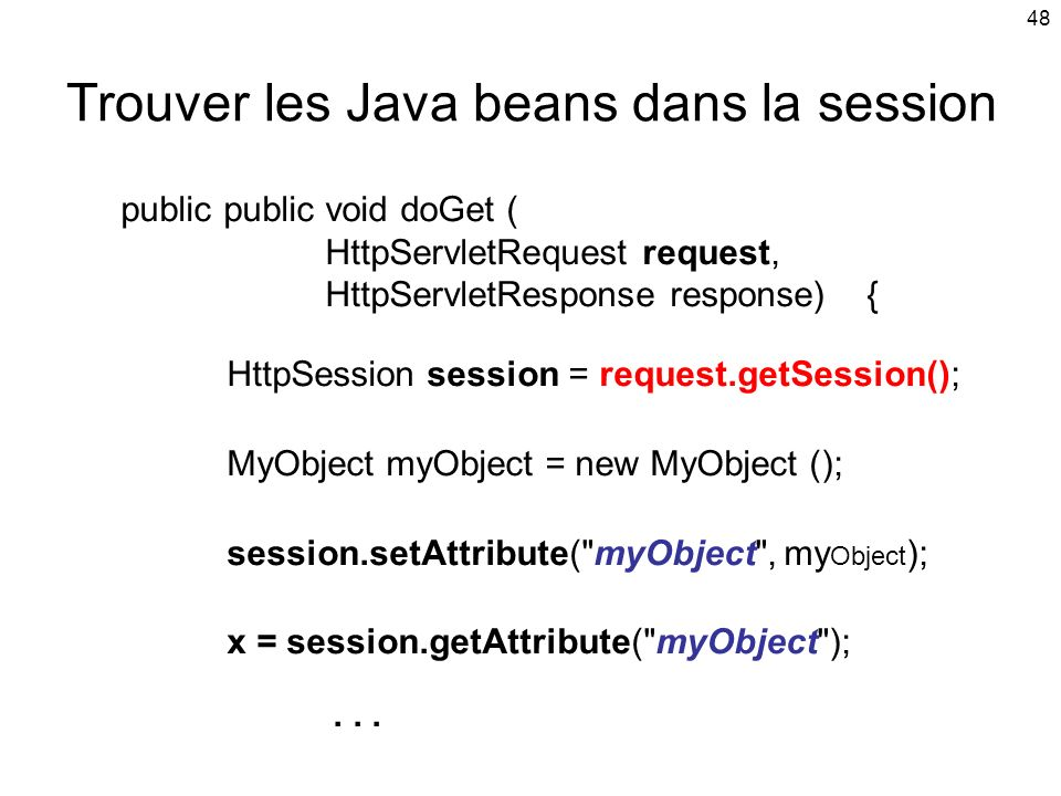 Trouver les Java beans dans la session