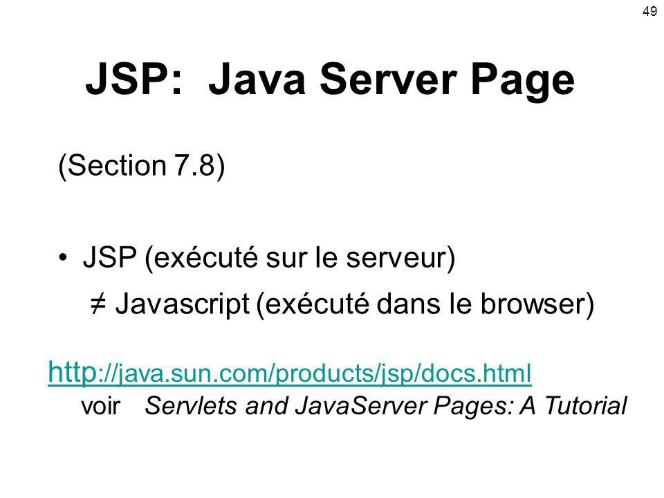 JSP: Java Server Page (Section 7.8) JSP (exécuté sur le serveur)