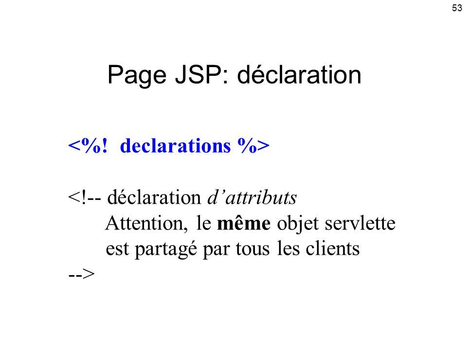 Page JSP: déclaration <%! declarations %>