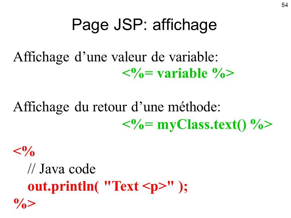 Page JSP: affichage Affichage d'une valeur de variable: