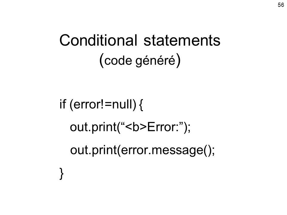 Conditional statements (code généré)
