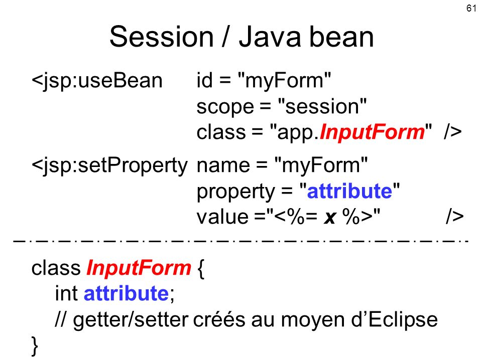 Session / Java bean <jsp:useBean id = myForm scope = session