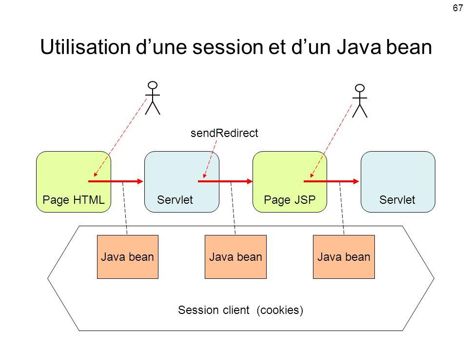 Utilisation d'une session et d'un Java bean