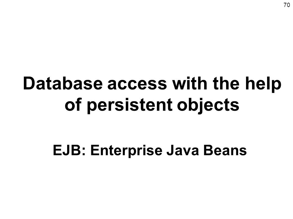 Database access with the help of persistent objects