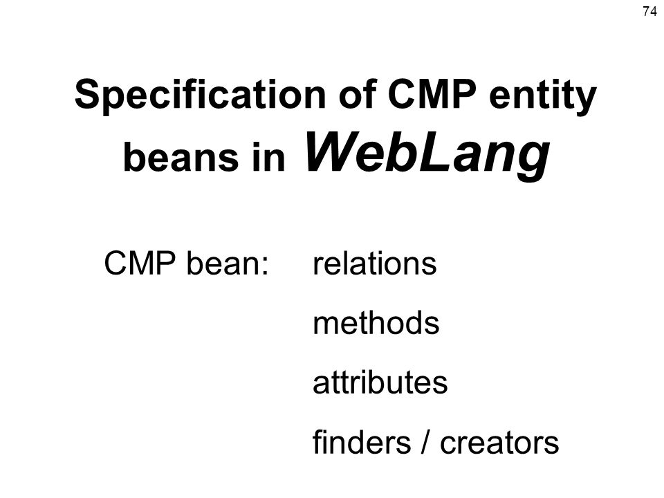 Specification of CMP entity beans in WebLang