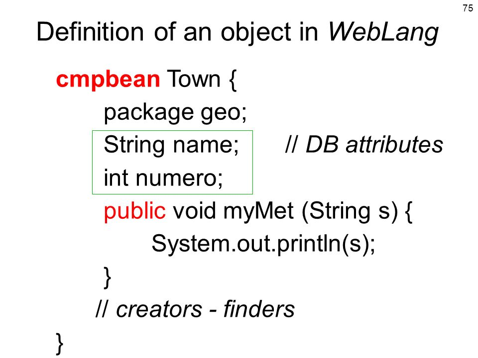Definition of an object in WebLang