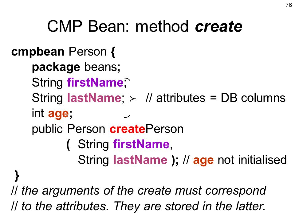 CMP Bean: method create