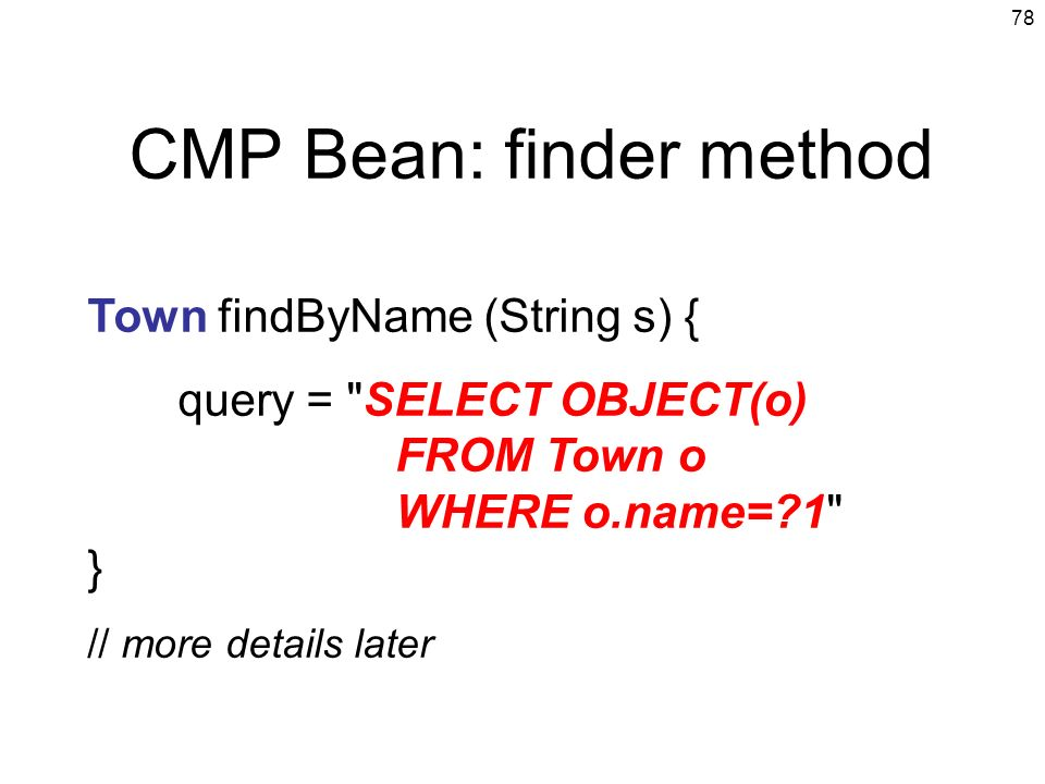 CMP Bean: finder method