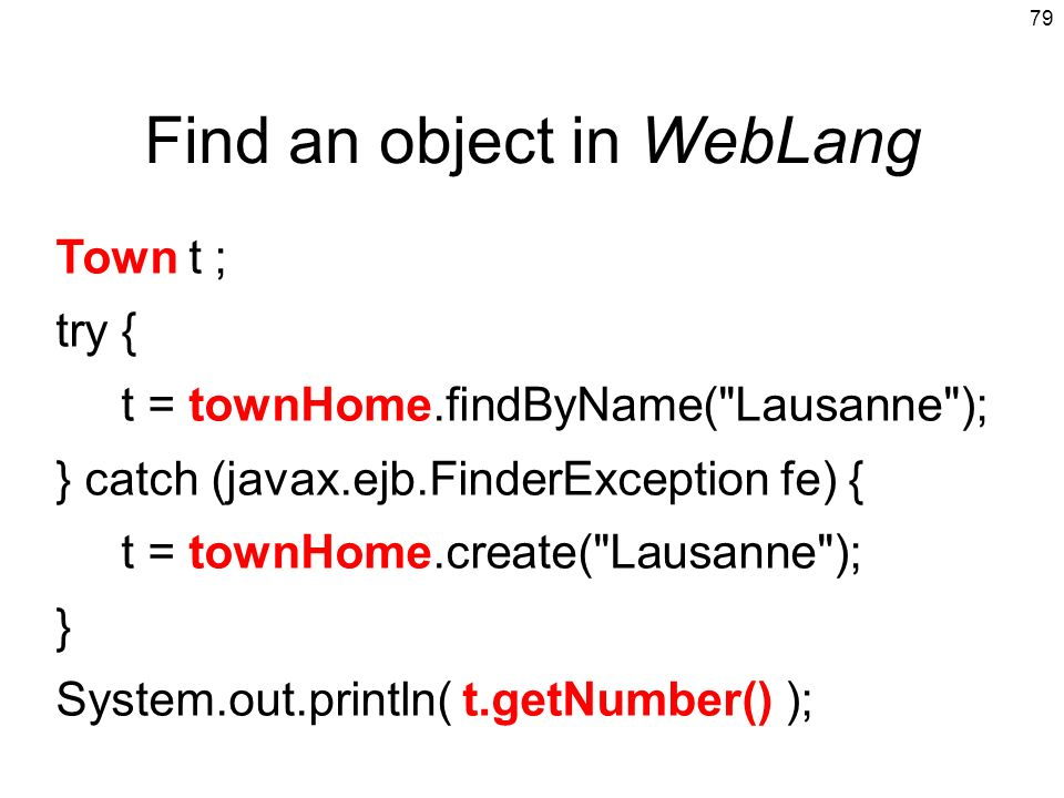 Find an object in WebLang