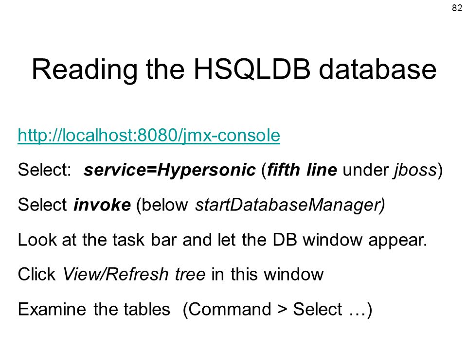 Reading the HSQLDB database