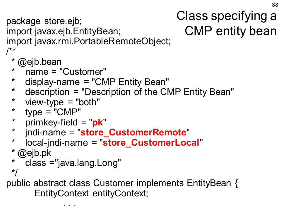 Class specifying a CMP entity bean