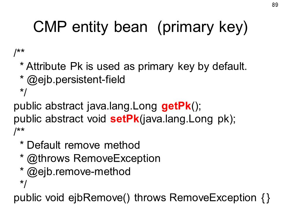 CMP entity bean (primary key)