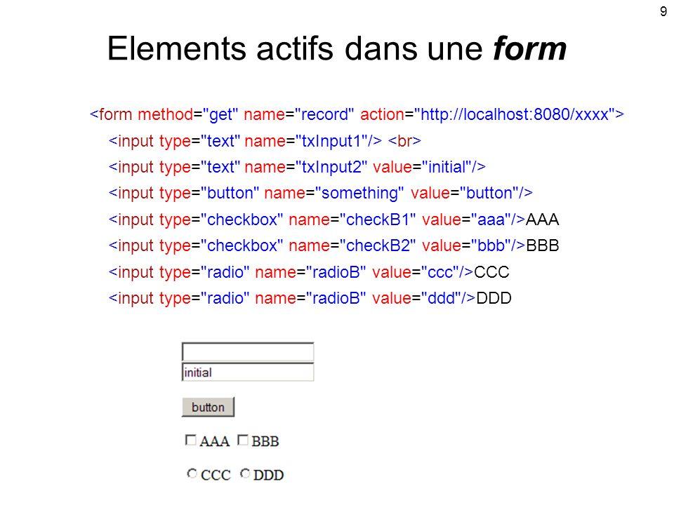 Elements actifs dans une form