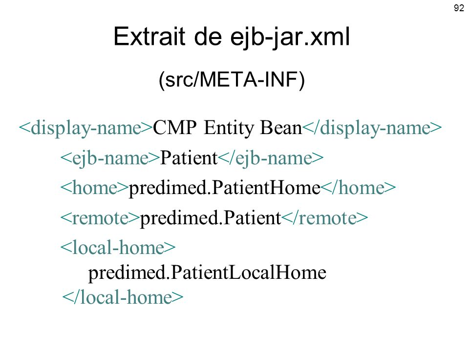 Extrait de ejb-jar.xml (src/META-INF)