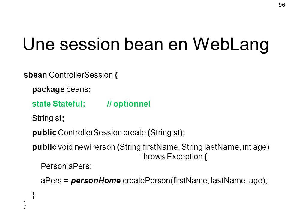 Une session bean en WebLang