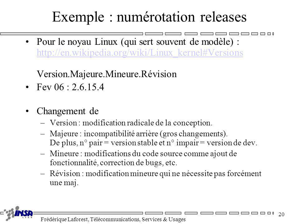 Exemple : numérotation releases