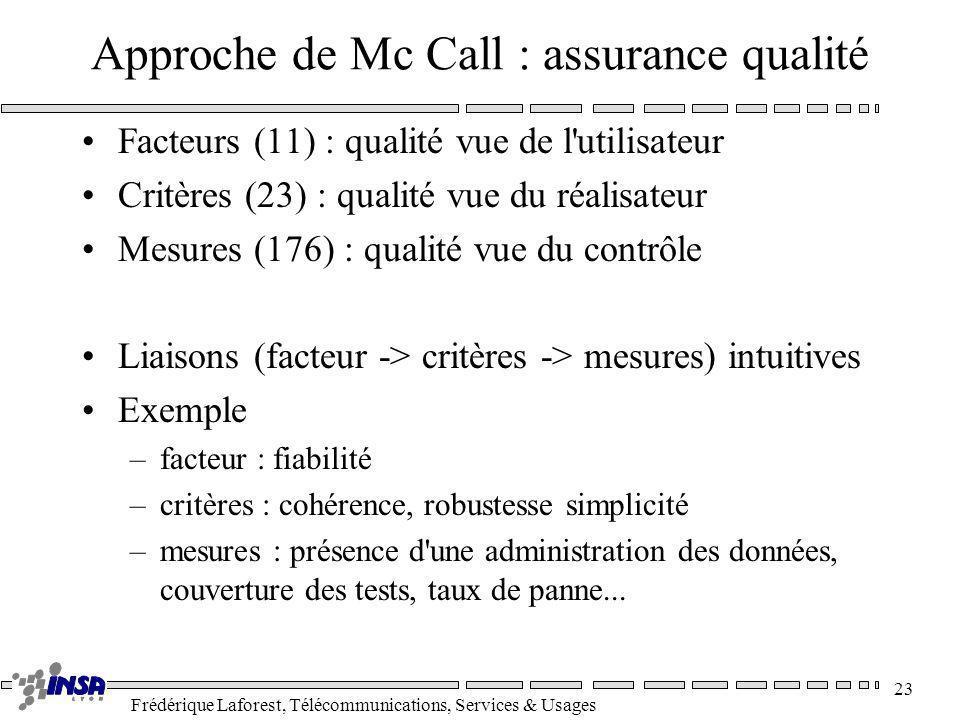 Approche de Mc Call : assurance qualité