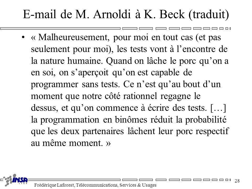 E-mail de M. Arnoldi à K. Beck (traduit)