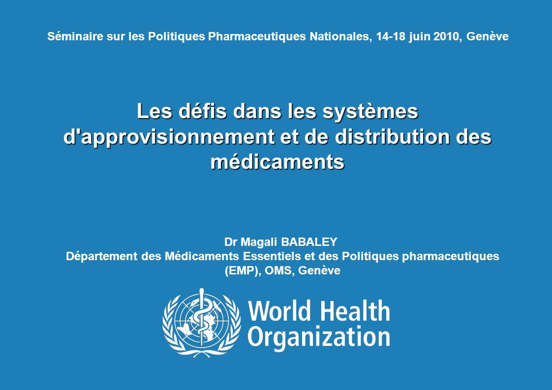 11 mars 2008 Séminaire sur les Politiques Pharmaceutiques Nationales, 14-18 juin 2010, Genève.