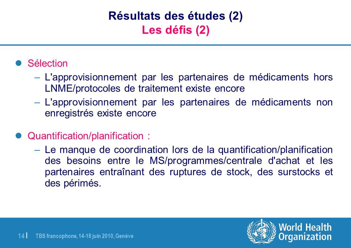Résultats des études (2) Les défis (2)
