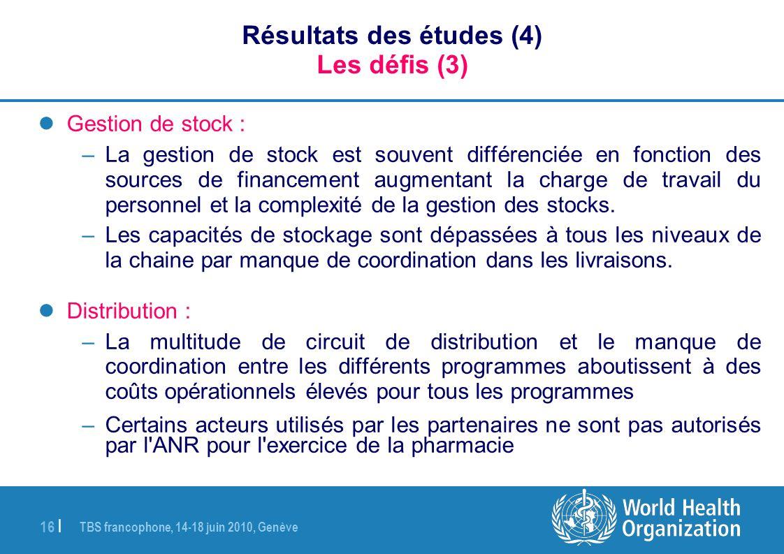 Résultats des études (4) Les défis (3)