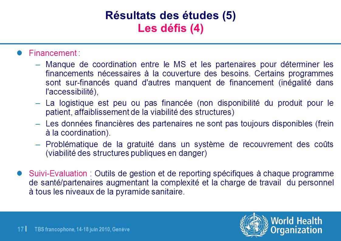 Résultats des études (5) Les défis (4)